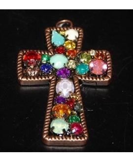 Cruz con pequeños cristales 63x43mm, cobre