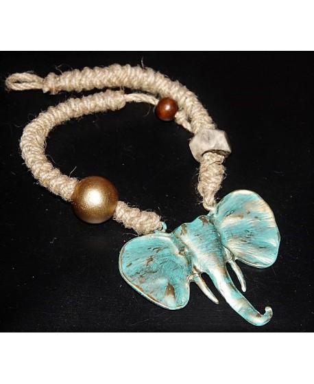 Collar etnico, boho, rústico elefante
