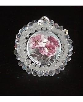 Medalla bordada a mano, rosas 42mm