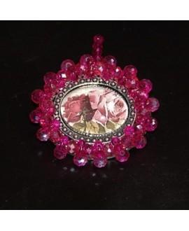 Medalla bordada a mano, rosas 53x55mm