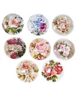 Cabuchón cristal flores 45mm, fondo plano