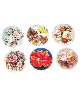 Cabuchón cristal flores 50mm, fondo plano