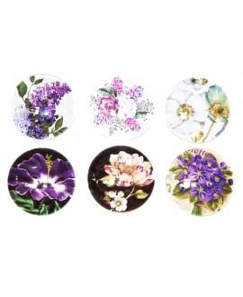 Cabuchón cristal flores 40mm, fondo plano