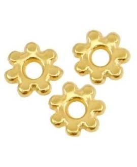 Entre-pieza flor 4.8x1.3mm de latón con baño de oro, paso 1,3mm, precio por 15 unidades