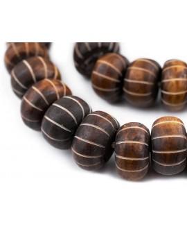 Cuentas de hueso marrón talladas en chevron 20/24x13/15mm paso 3mm, venta por unidad
