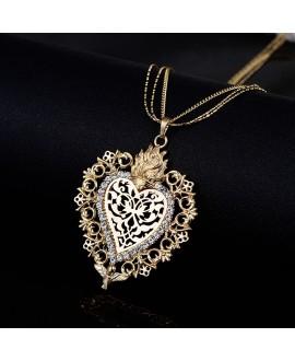 Colgante corazón dorado con cristal checo 66x55mm, paso 4mm