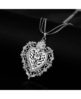 Colgante corazón plateado con cristal checo 66x55mm, paso 4mm