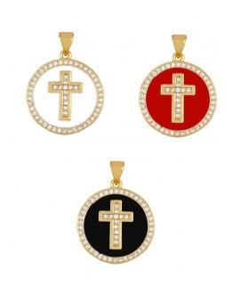 Colgante medalla cruz 20mm esmalte/circonita de cobre con baño de oro