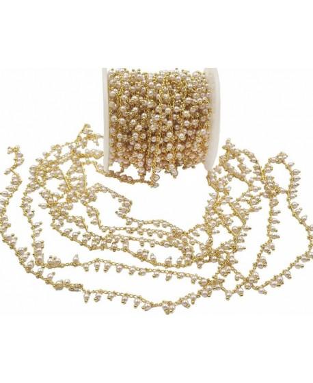 Cadena de latón con perlas, oro galvanizado de 18 kilates, precio por metro