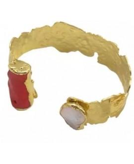 Pulsera de cobre chapada en oro de 18 kilates con perla barroca y coral rojo, diámetro 57mm