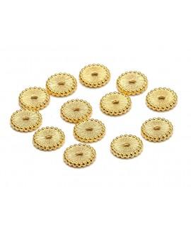 Entre-pieza planas de 2,7mm de diámetro de latón con baño de oro, paso 1,3mm, precio por 25unidades