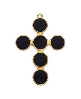 Colgante cruz con esmalte negro 41x34mm paso 2mm, zamak baño de oro 24k