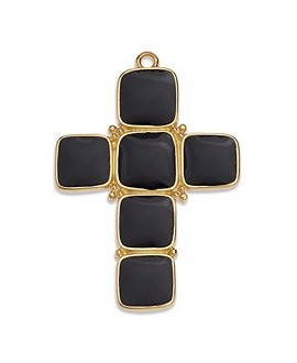 Colgante cruz con esmalte negro 40x28mm paso 2mm, zamak baño de oro 24k