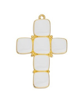 Colgante cruz con esmalte blanco 40x28mm paso 2mm, zamak baño de oro 24k