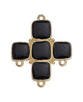 Colgante cruz con esmalte negro 34x28mm paso 2mm, zamak baño de oro 24k