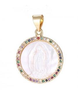 Colgante virgen Maria/nácar, cristal checo de latón baño de oro 15mm, paso 3mm UNIDAD