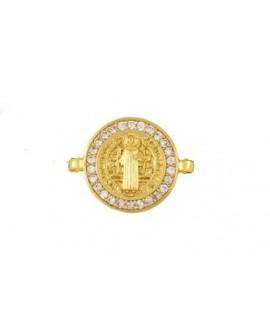 Entre-pieza virgen micro pavimento de circonia cúbica de latón con baño de oro 15mm, paso 1mm UNIDAD