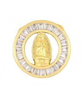 Colgante medalla, nácar, cristal checo y latón baño de oro 20mm, paso 3mm UNIDAD