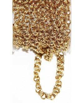 Cadena de acero inoxidable dorado 1mm anilla doble, precio por metro