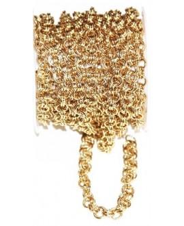 Cadena de acero inoxidable dorado 0,8mm anilla doble, precio por metro