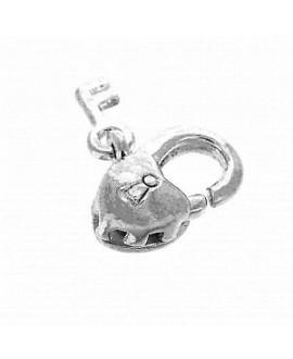 Cierre mosquetón Corazón con llave 11 mm, latón baño de plata