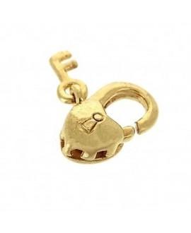 Cierre mosquetón Corazón con llave 11 mm, latón baño de oro