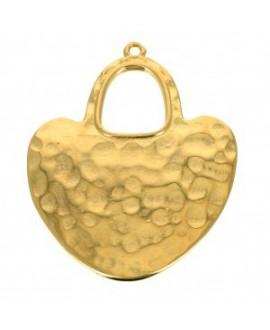 Colgante étnico martillado 40x33 mm, zamak baño de oro