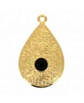 Colgante gota estampado floral y resina 28x17 mm , zamak baño de oro