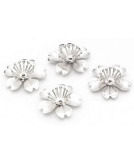 Capuchón/casquilla flor metal chapado plata 20mm, paso 1,5mm, unidad