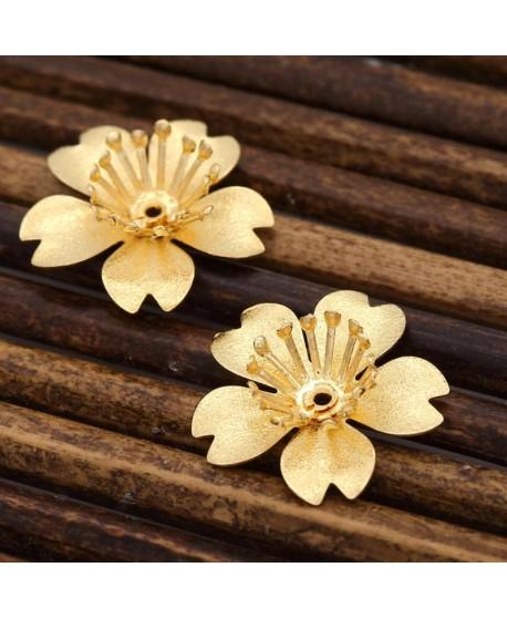 Capuchón/casquilla flor metal chapado oro 20mm, paso 1,5mm, unidad