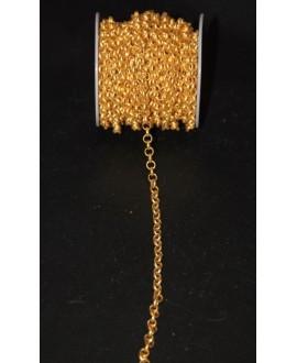 Cadena aluminio rolo oro mate 7mm, venta por metro