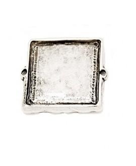 Entre-pieza cuadrada 30mm paso 2mm, zamak baño de plata
