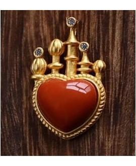 Colgante corazón 30x16mm porcelana esmaltada y plata chapado en oro