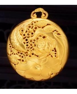 Colgante 30x25mm, plata chapado en oro
