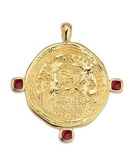 Colgante moneda 40mm, zamak baño de oro 24 k