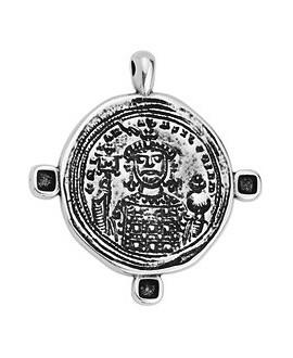 Colgante moneda 40mm, zamak baño de plata