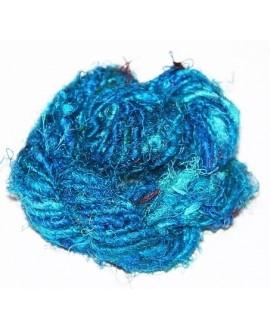 Hilo reciclado de seda sari, 4/5mm sky blue, precio por metro
