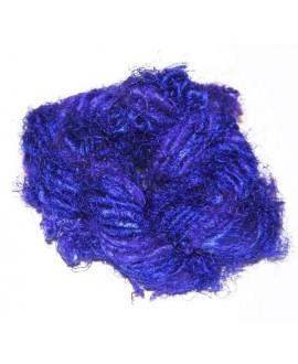 Hilo reciclado de seda sari, 4/5mm azulón, precio por metro