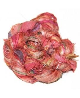 Seda sari pink green 25 gramos, 8-10 metros