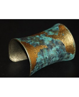 Brazalete metal patinado, 10cm