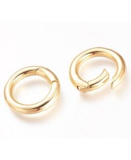 Cierre/anillo de latón con resorte, baño de oro 23x15x4mm, UNIDAD
