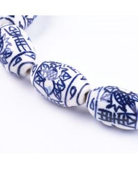 Cuentas de porcelana esmaltada de forma antigua 25.5x15mm paso 2mm, precio por unidad