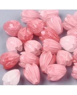 Cuenta/entre-pieza coral sintético, rosa, 8.5x7mm paso 1mm, 10 unidades