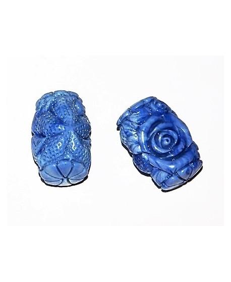 Cuenta coral sintético azul/blanco 31x21mm paso 2mm, UNIDAD