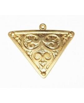 Colgante triángulo 44x38mm paso 1,5mm, baño de oro 22 kilates