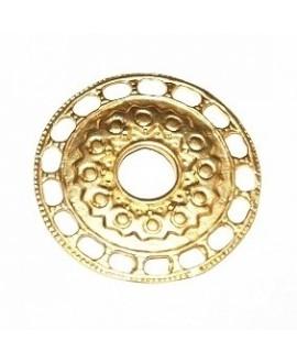 Colgante medallón 39mm paso 3mm, baño de oro 22 kilates