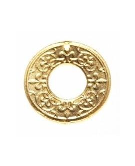 Colgante medallón 30mm paso 1mm, baño de oro 22 kilates