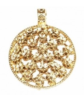 Colgante medallón flores 54x42mm paso 4mm, baño de oro 22 kilates