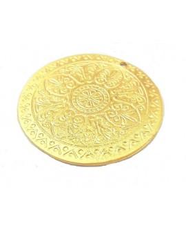 Colgante medallón 46mm paso 1mm, baño de oro 22 kilates