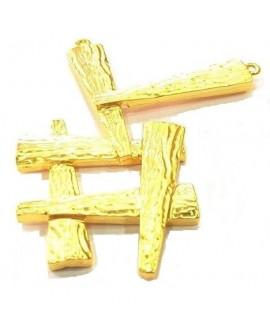 Colgante 59x34mm paso 1mm, baño de oro 22 kilates